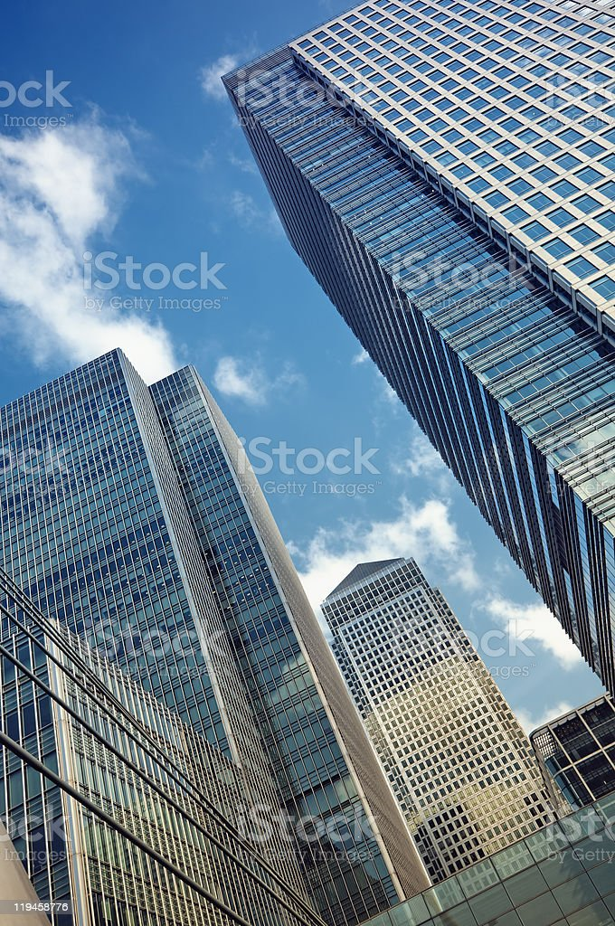 Buildings in Canary Wharf London stock photo