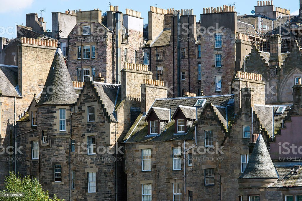 Buildings in downtown Edinburgh stock photo