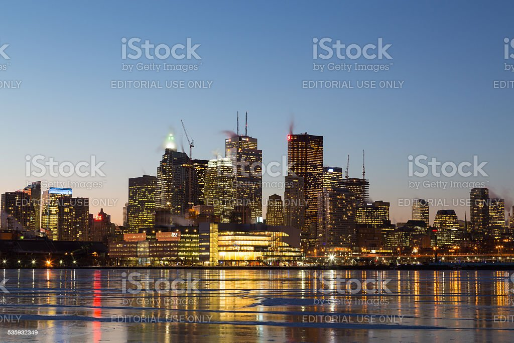 Buildings in Downtown Toronto in the Winter at Night stock photo