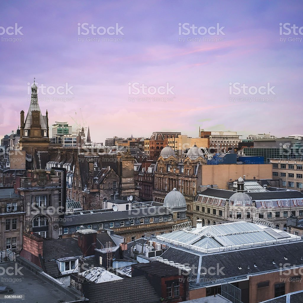 Buildings in Glasgow city stock photo
