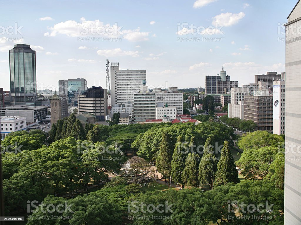 Buildings in Harare, capital of Zimbabwe stock photo