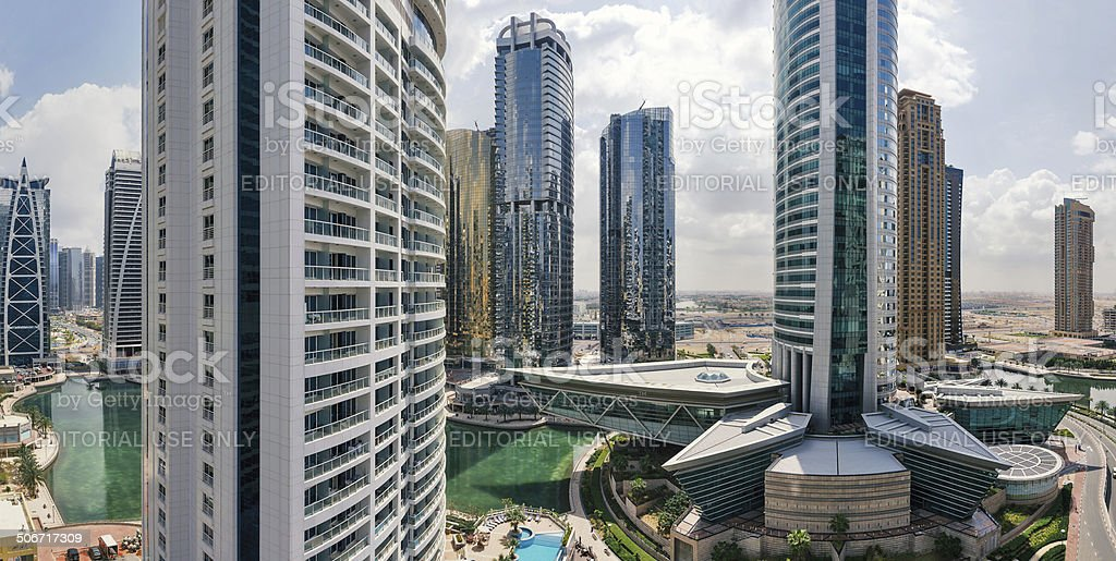Buildings in Jumeirah Lakes Towers. stock photo