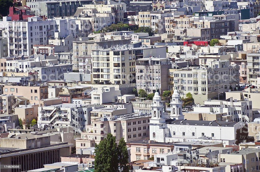 Buildings in North Beach neighborhood of San Francisco, CA royalty-free stock photo