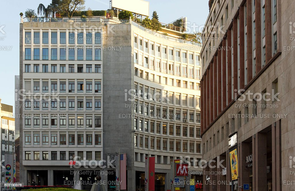Buildings in Piazza San Babila square in Milan stock photo
