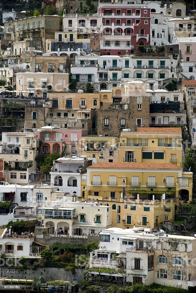 Buildings in Positano, Italy on the Amalfi Coast. royalty-free stock photo