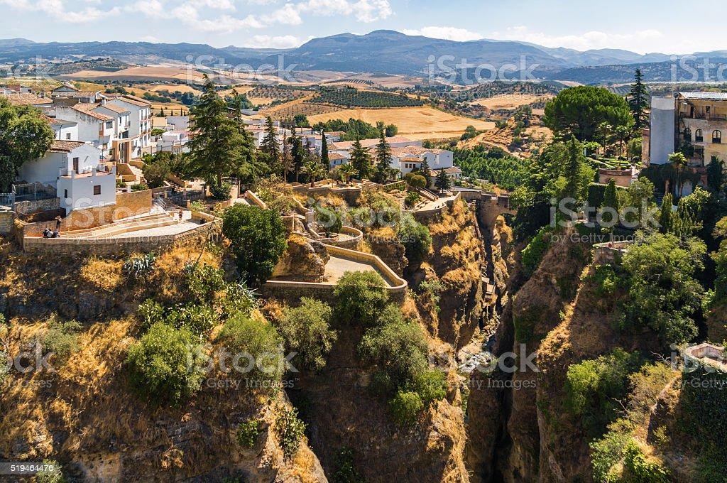 Buildings in Ronda, Malaga province, Spain. stock photo