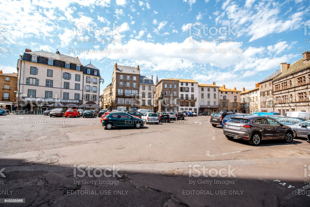 Buildings in saint Flour town, France stock photo