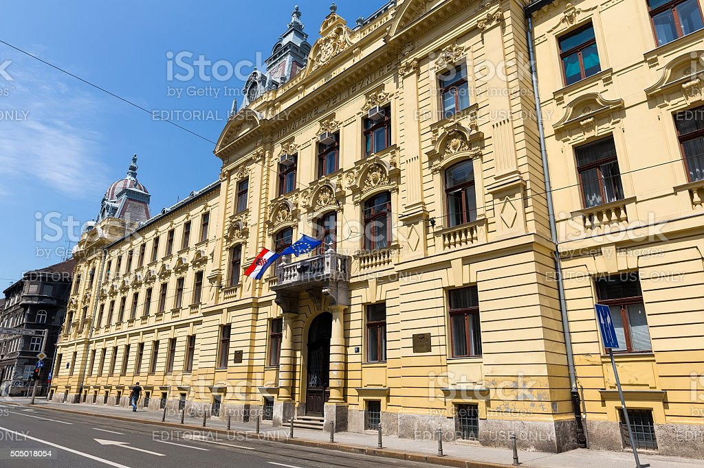 Buildings in the city center of Zagreb, Croatia. stock photo
