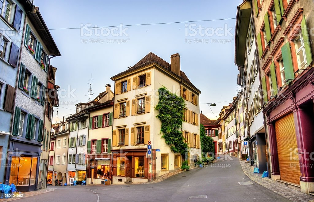 Buildings in the city centre of Basel stock photo