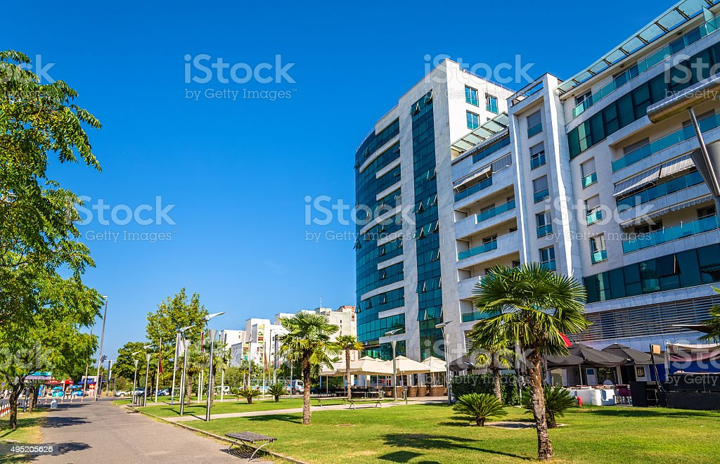 Buildings in the city centre of Podgorica - Montenegro stock photo