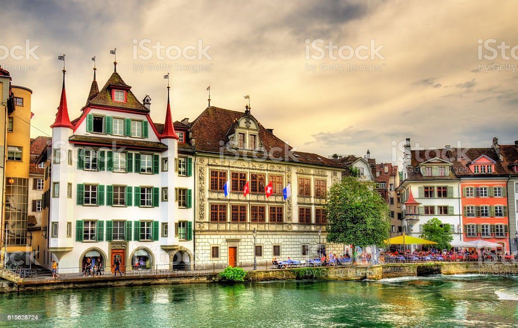 Buildings in the historic centre of Lucerne - Switzerland stock photo