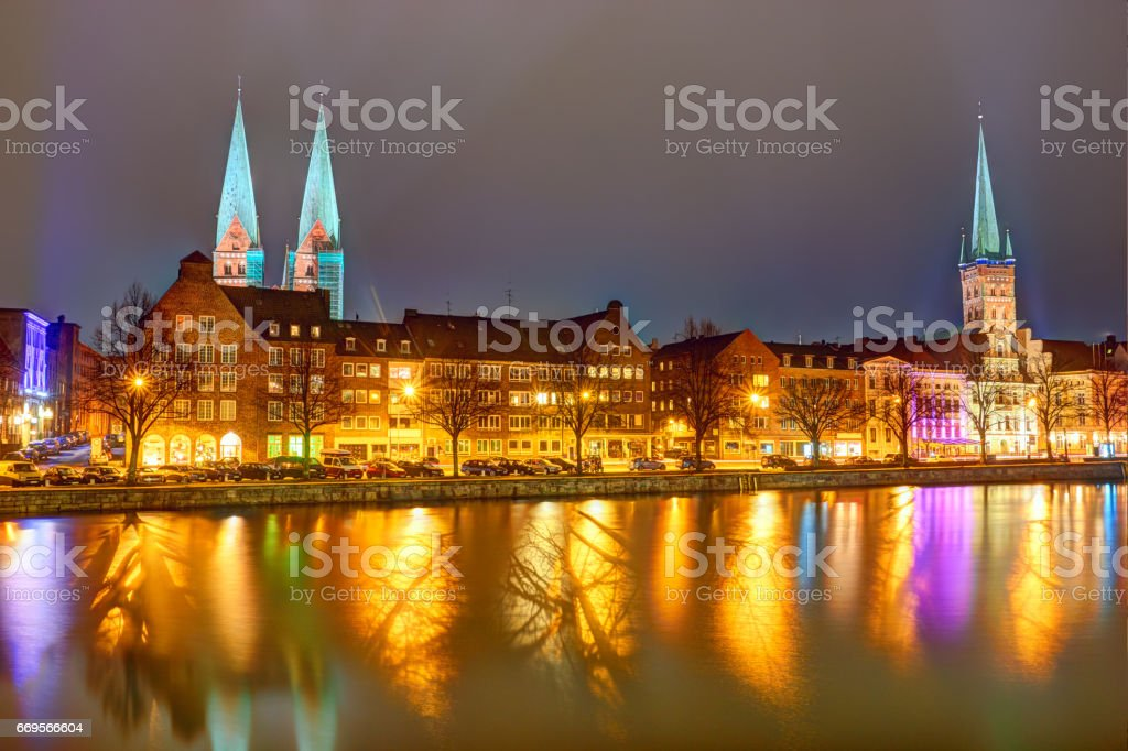 Buildings in the old town of Lubeck - Germany stock photo