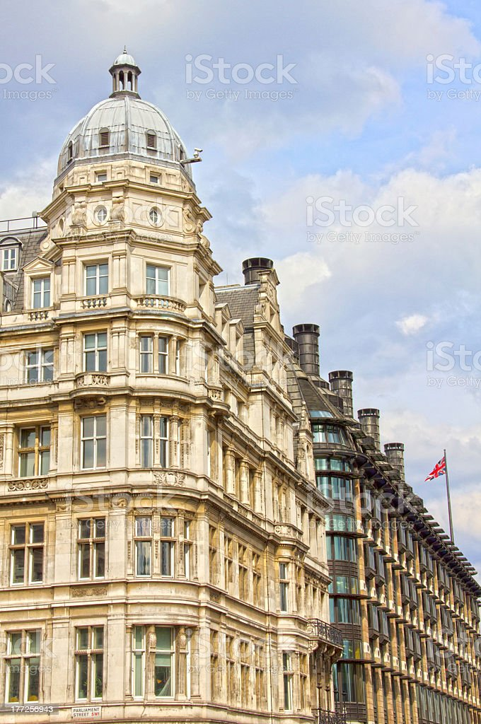 Buildings in the Parliament Street, London royalty-free stock photo
