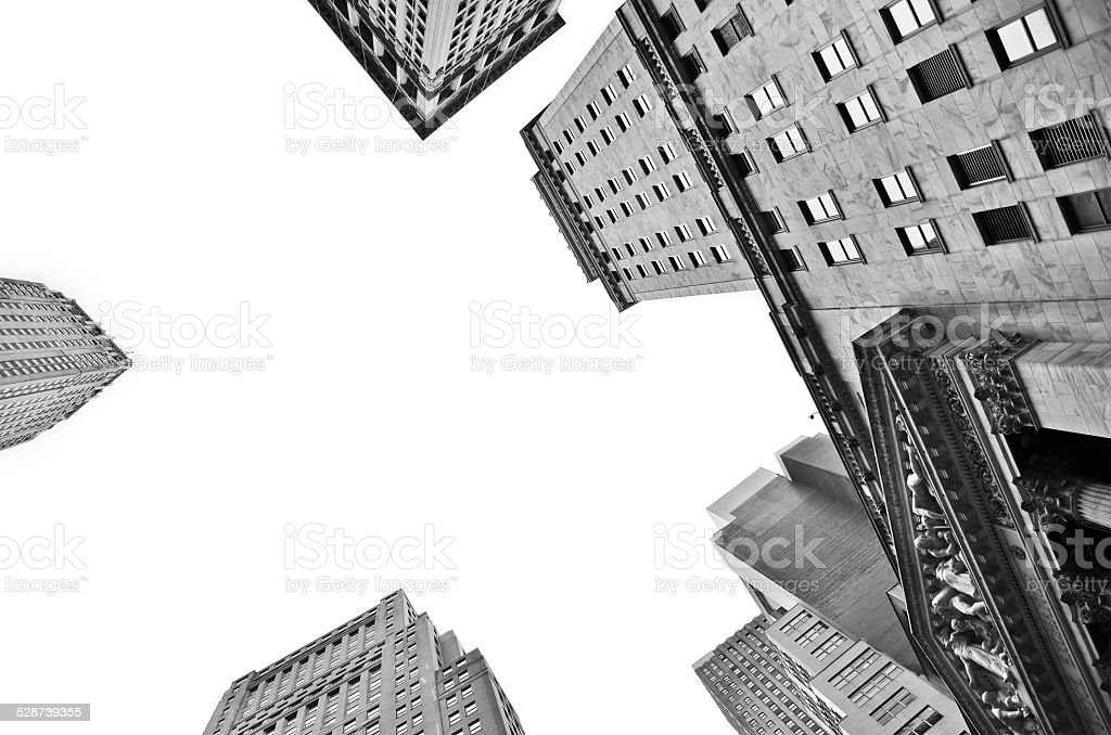 Buildings in the Wall Street. stock photo