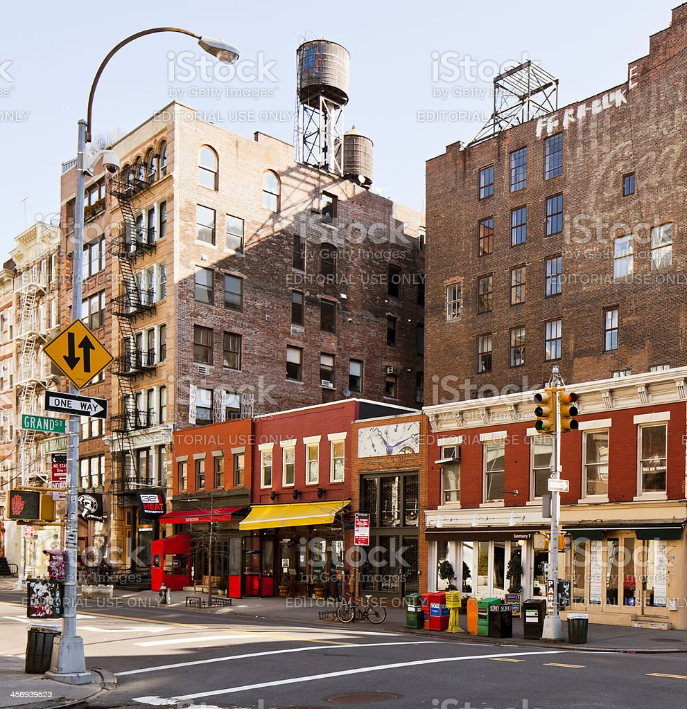 Buildings lined up together in Soho District stock photo