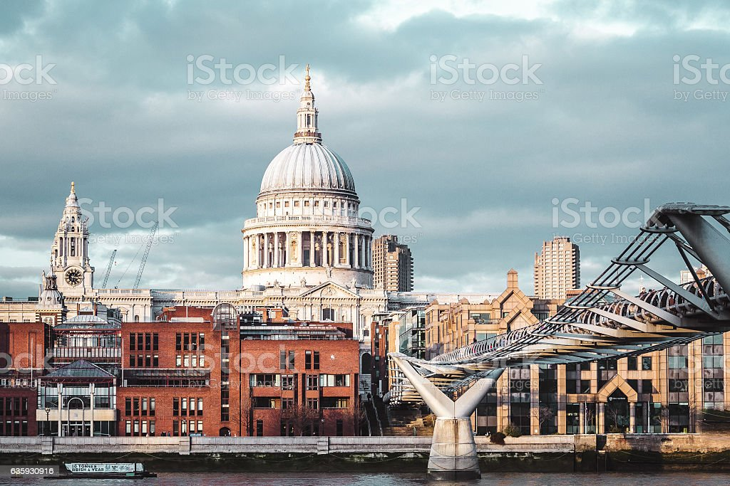 Buildings near Millennium Bridge in London, England stock photo