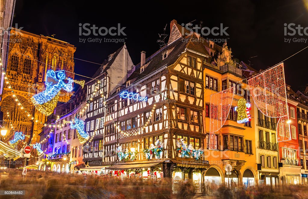 Buildings near Strasbourg Cathedral before Christmas - France stock photo