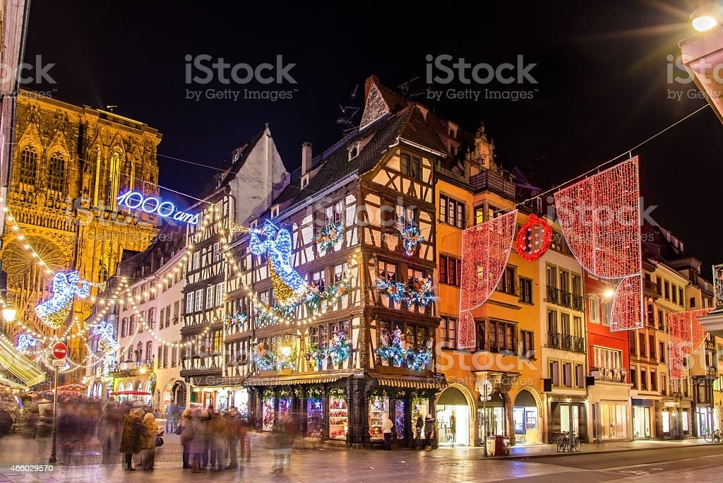 Buildings near the Cathedral in Strasbourg before Christmas stock photo