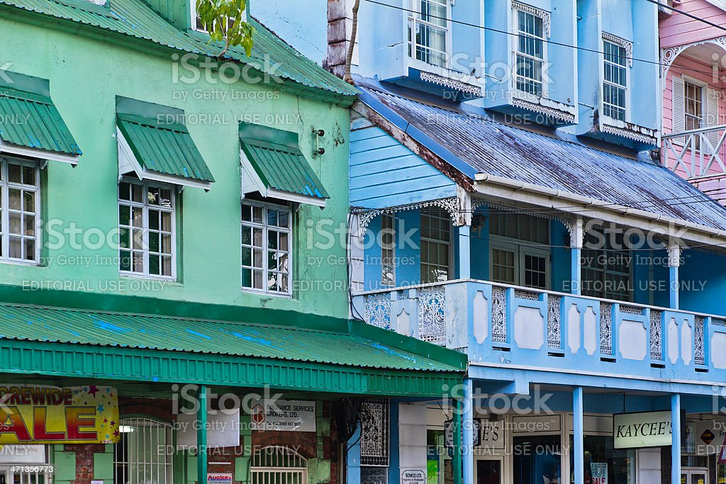 Buildings of Castries, Saint Lucia stock photo