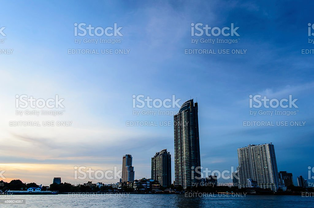 Buildings of Chao Phraya River stock photo