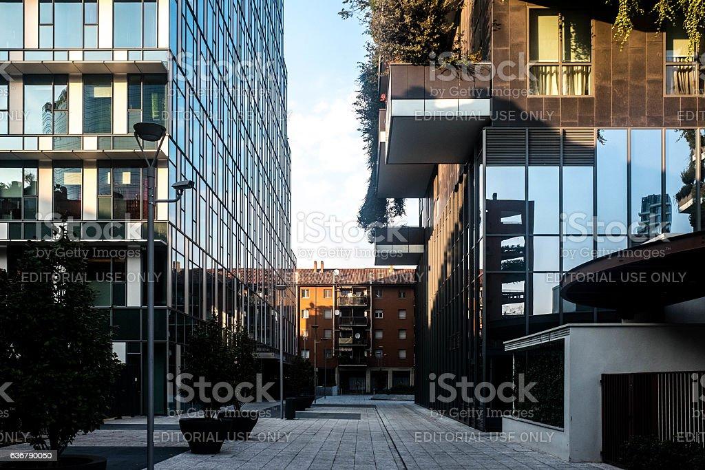 Buildings of Milano Under Bosco Verticale stock photo