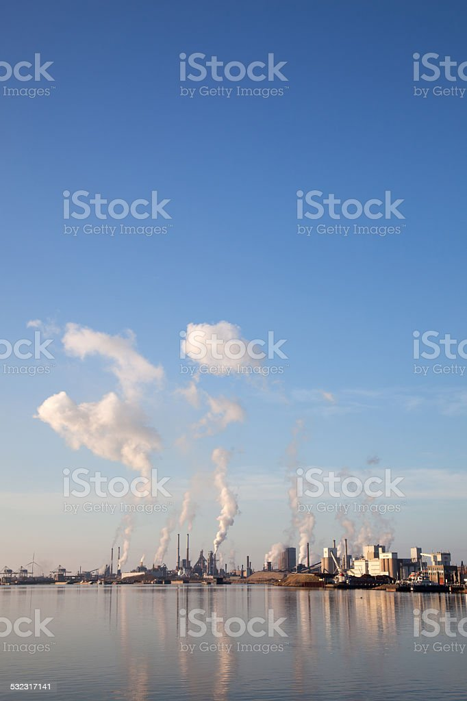 buildings of Tata steel in the dutch town IJmuiden stock photo