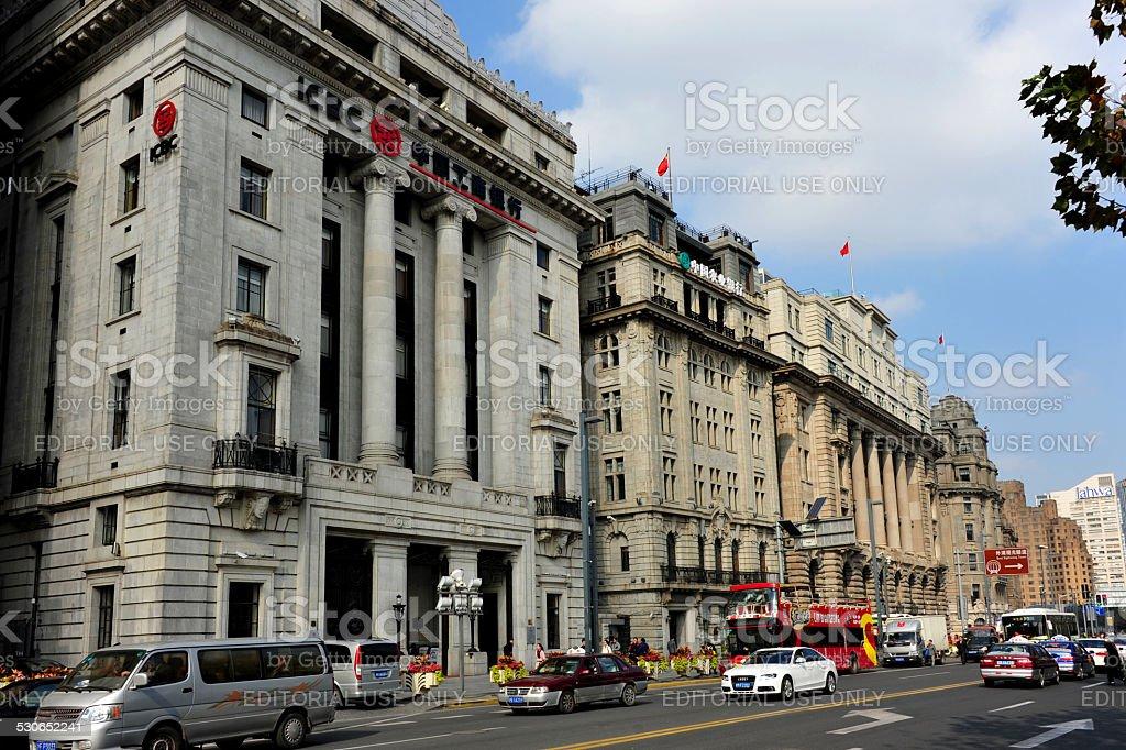 Buildings of The Bund in Shanghai stock photo
