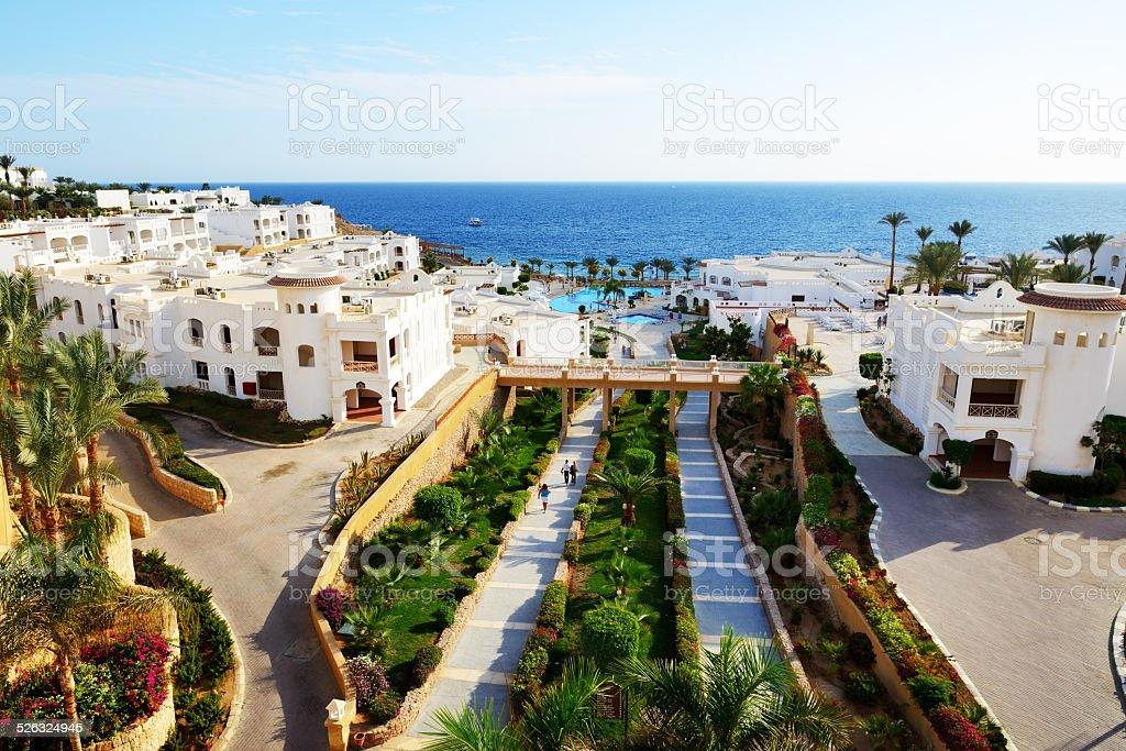 Buildings of the luxury hotel, Sharm el Sheikh, Egypt stock photo