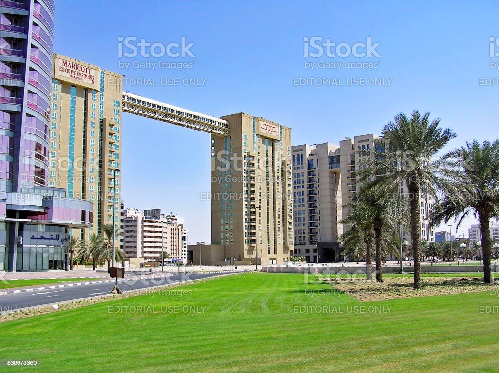 Buildings of the Marriott Executive Apartments Dubai Creek stock photo