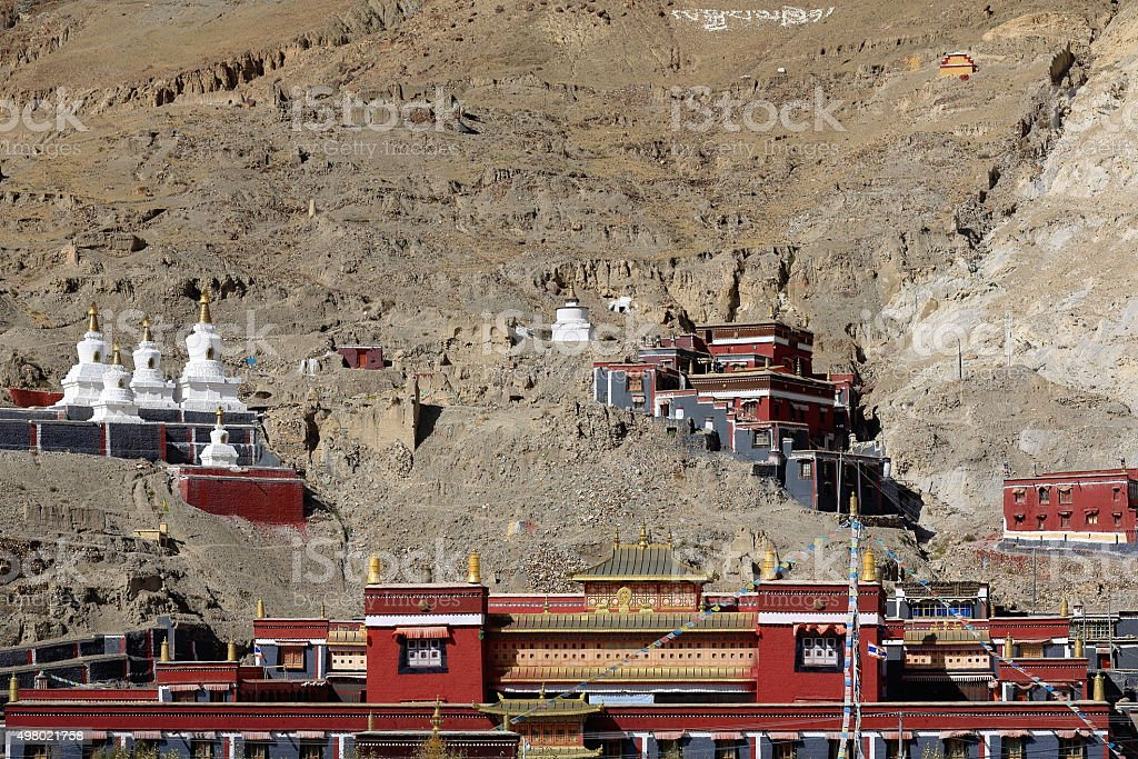 Buildings of the North Seat of Sakya monastery-Tibet. 1812 stock photo