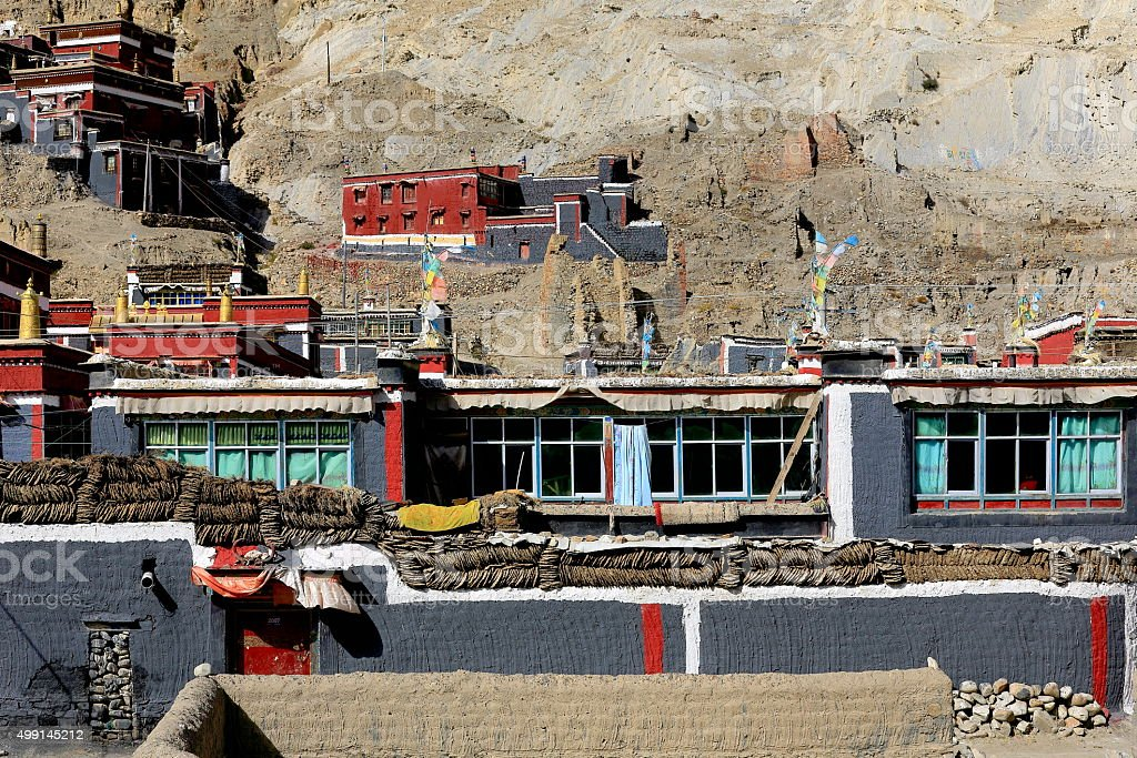 Buildings of the North Seat of  Sakya monastery-Tibet. 1815 stock photo