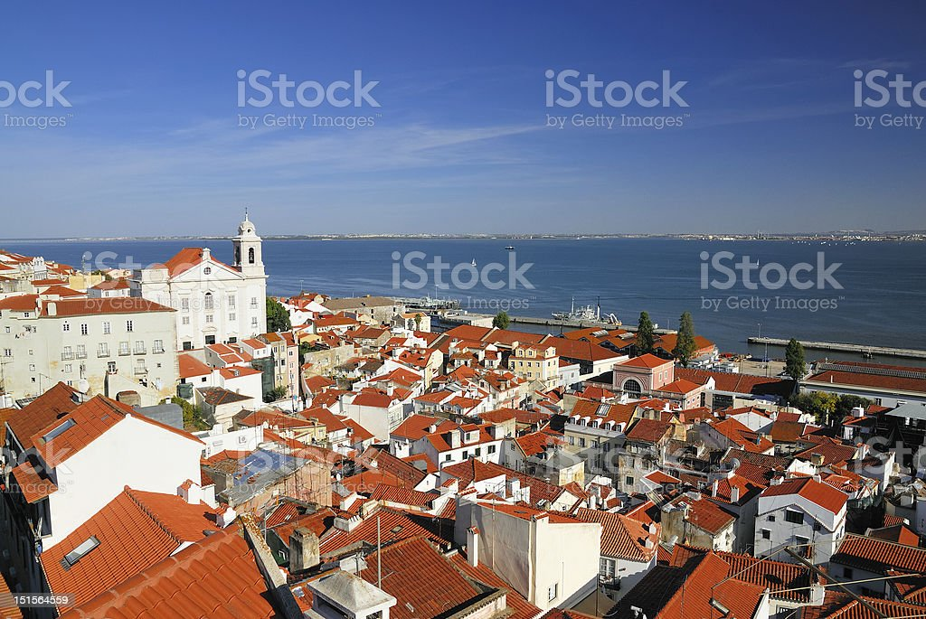 Buildings of the old district in Lisbon royalty-free stock photo