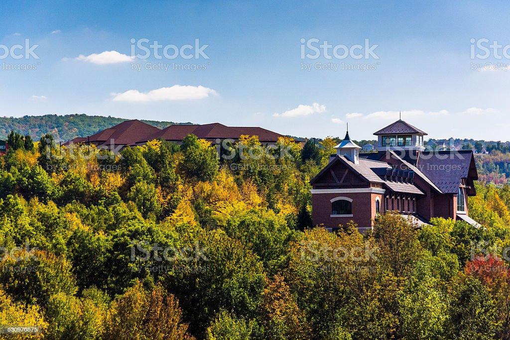 Buildings on a hill near Scranton, Pennsylvania. stock photo