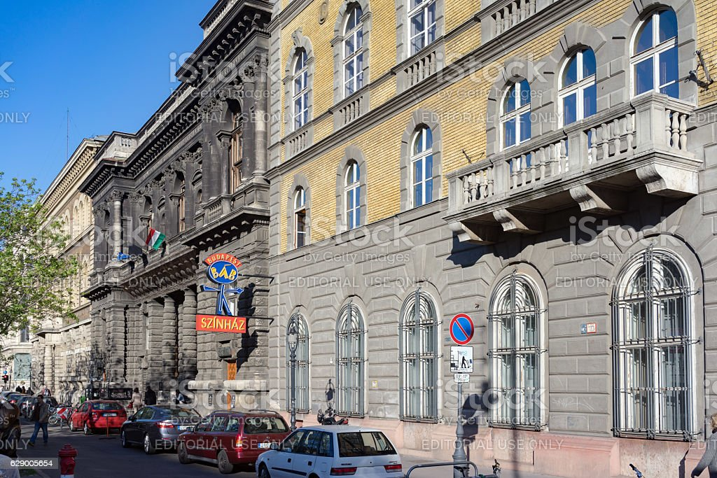 Buildings on Andrassy Avenue in Budapest stock photo