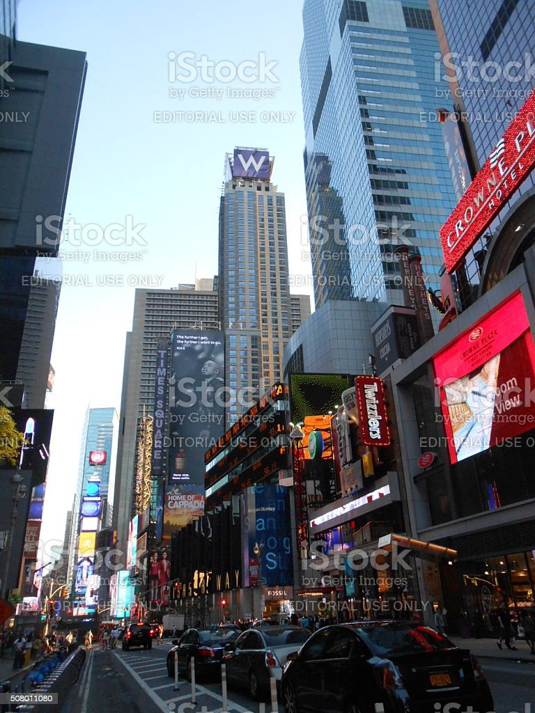 Buildings on Broadway on Times Square in Manhattan. stock photo