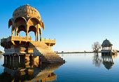 Buildings on Gadi Sagar lake in Jaisalmer, Rajasthan, India