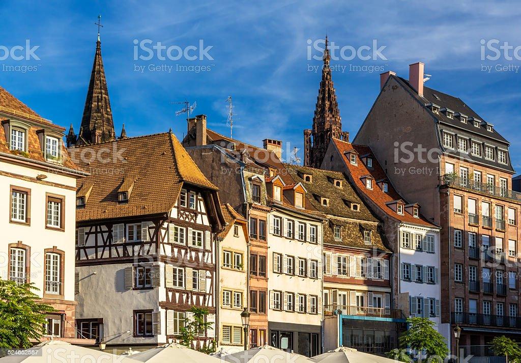 Buildings on Kleber Square in Strasbourg, Alsace, France stock photo