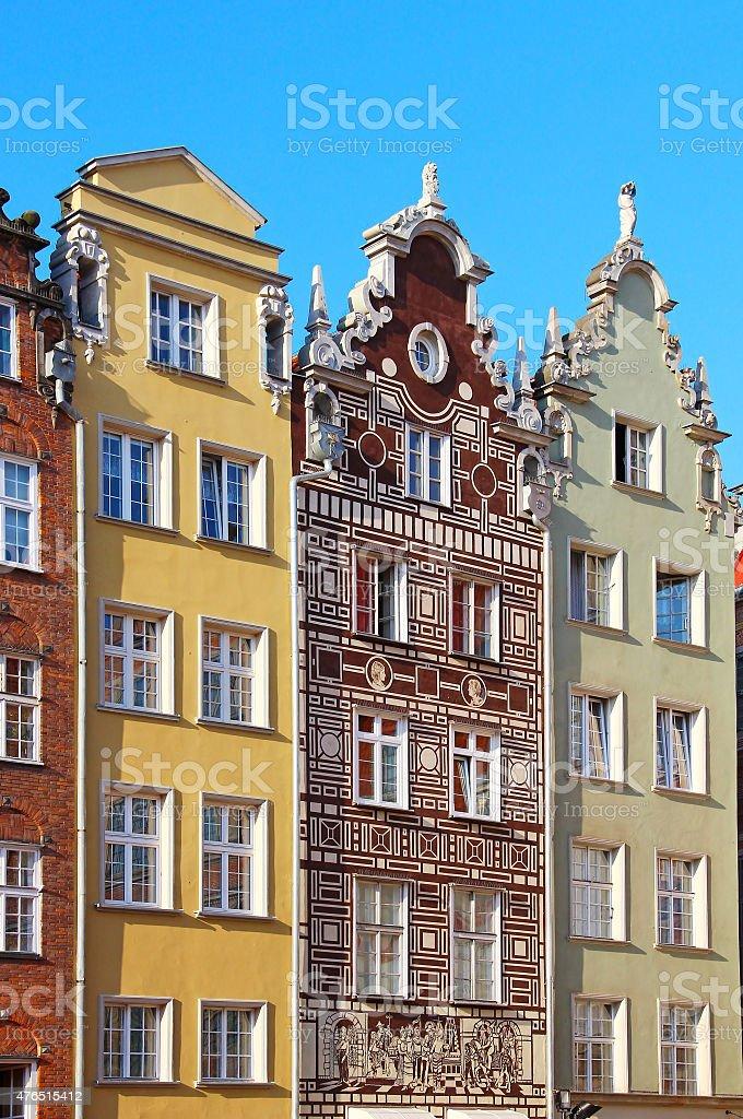 Buildings on Long Market street in Gdansk stock photo