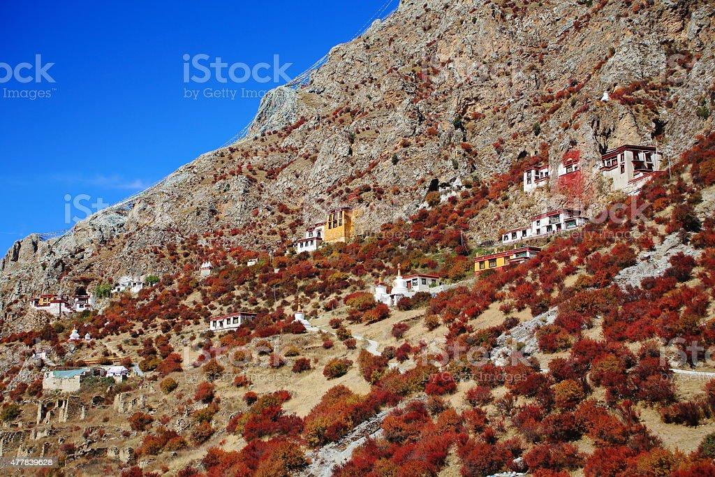 Buildings on mountain slope. Drak Yerpa monastery-Tibet. 1521 stock photo