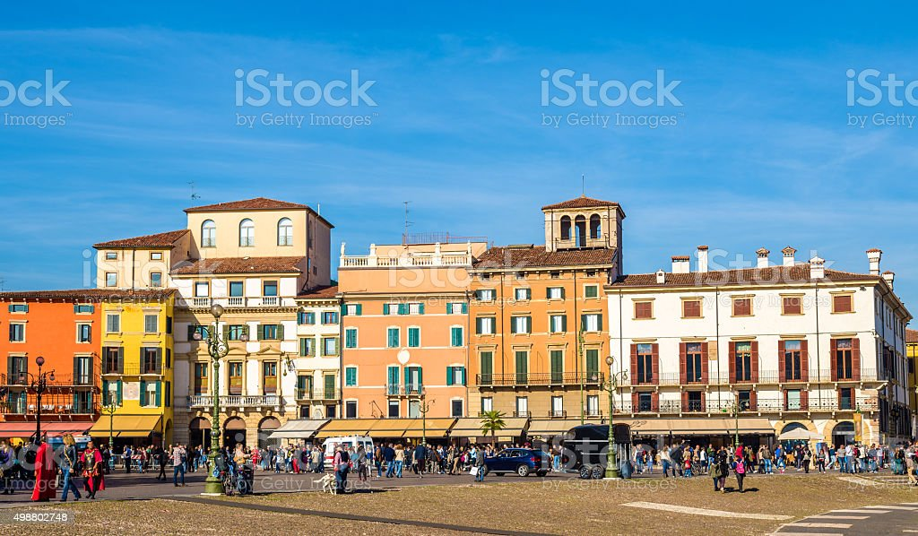 Buildings on Piazza Bra in Verona - Italy stock photo