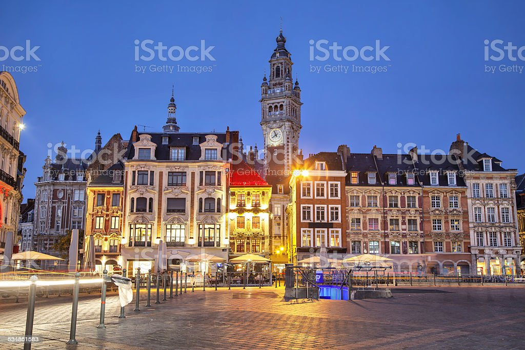 Buildings on the Grand Place in Lille stock photo
