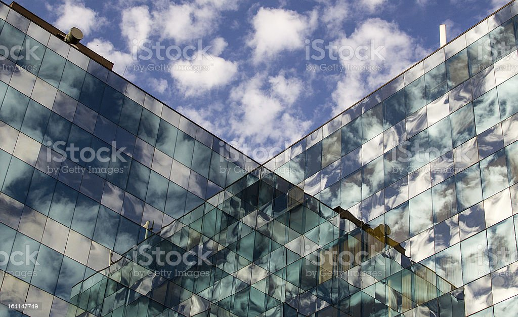 Buildings reflected on each other royalty-free stock photo