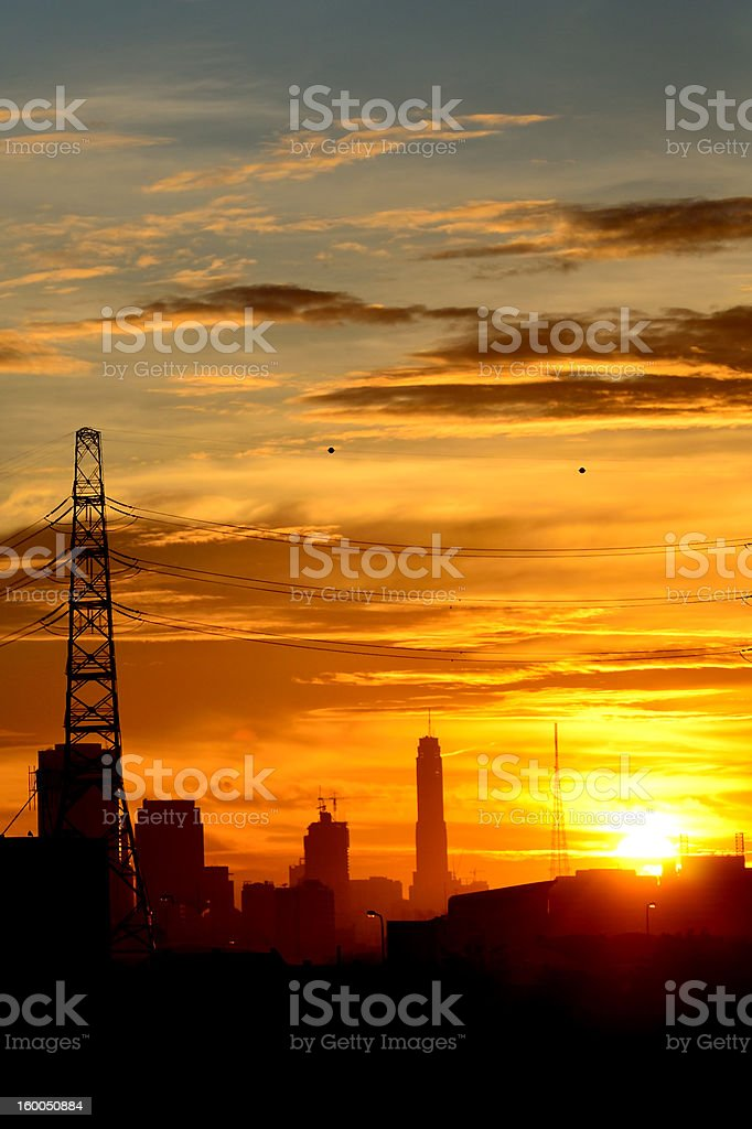 Building's silhouettes of a city. Bangkok Thailand royalty-free stock photo