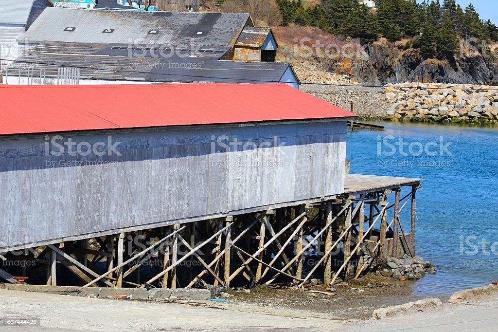 Buildings used for fishing industry  Salmon River, Nova Scotia, Canada stock photo