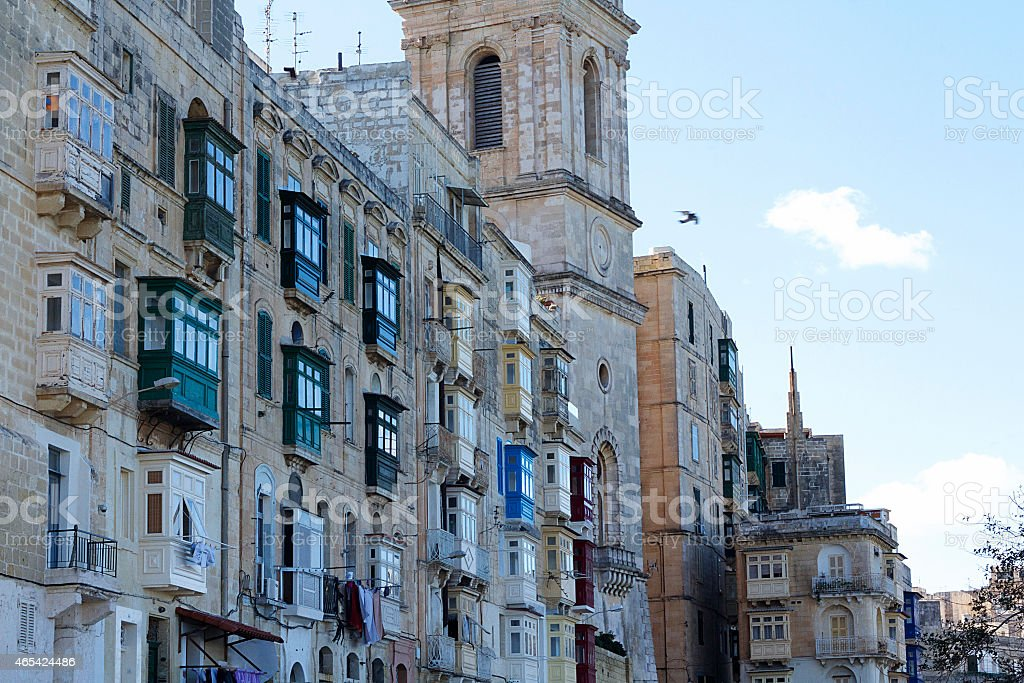 Buildings, Valletta stock photo
