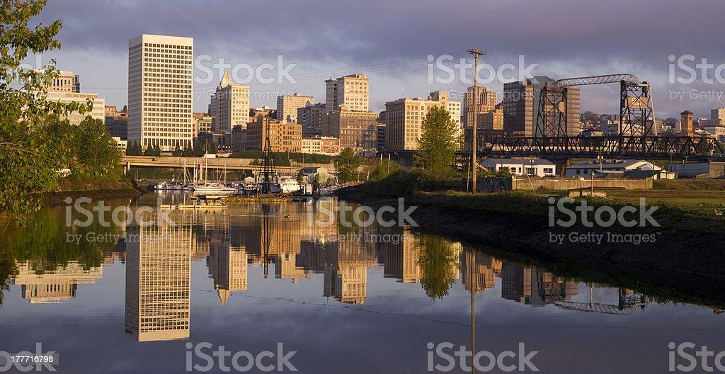 Buildings Viaduct Infrastructure Thea Foss Waterway Tacoma Washington Northwest USA stock photo