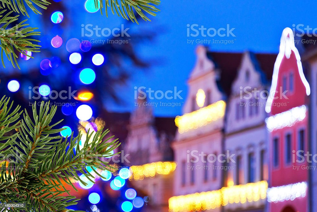 buildings with christmas decoration stock photo