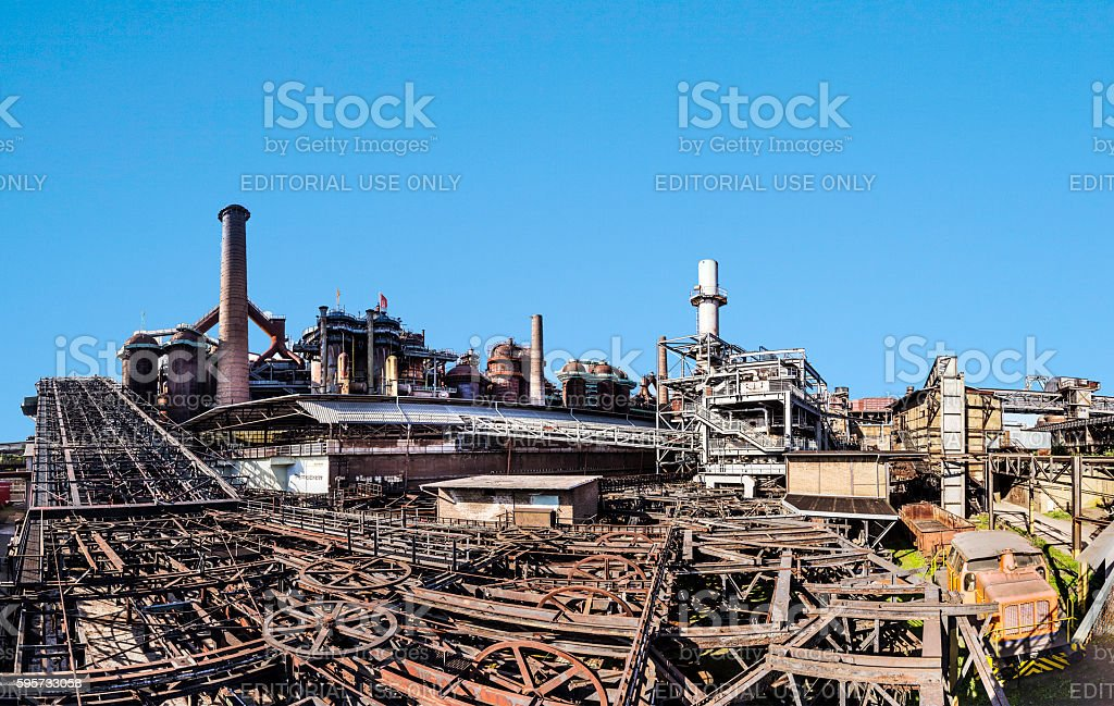 buildings with rails fort train at Volklingen Ironworks stock photo