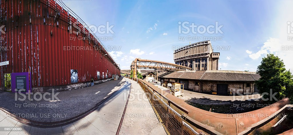 buildings with rails fot train at Volklingen Ironworks in Voelkl stock photo