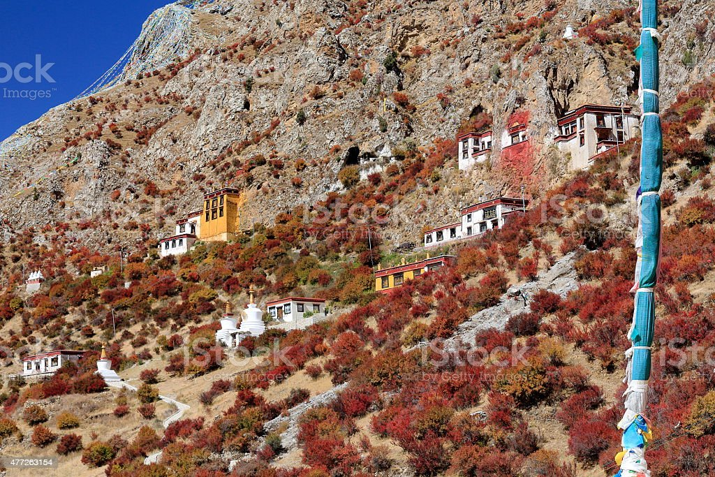 Buildings-mountain slope. Drak Yerpa monastery-Tibet. 1520 stock photo
